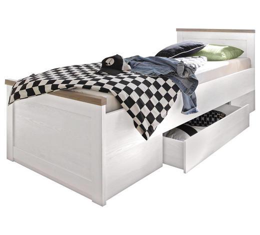 9c93b3743a5e1 POSTEL S ÚLOŽNÝM PROSTOREM - bílá/barvy lanýžového dubu, Lifestyle,  kompozitní dřevo (