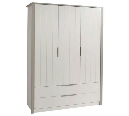 BABYKLEIDERSCHRANK Faro - Weiß/Grau, Design, Holzwerkstoff/Metall (148,5/202,8/56,2cm) - Paidi