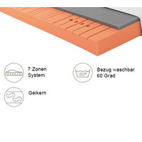 GELSCHAUMMATRATZE Primus 270 90/200 cm 22 cm - Dunkelgrau/Weiß, Basics, Textil (90/200cm) - Schlaraffia