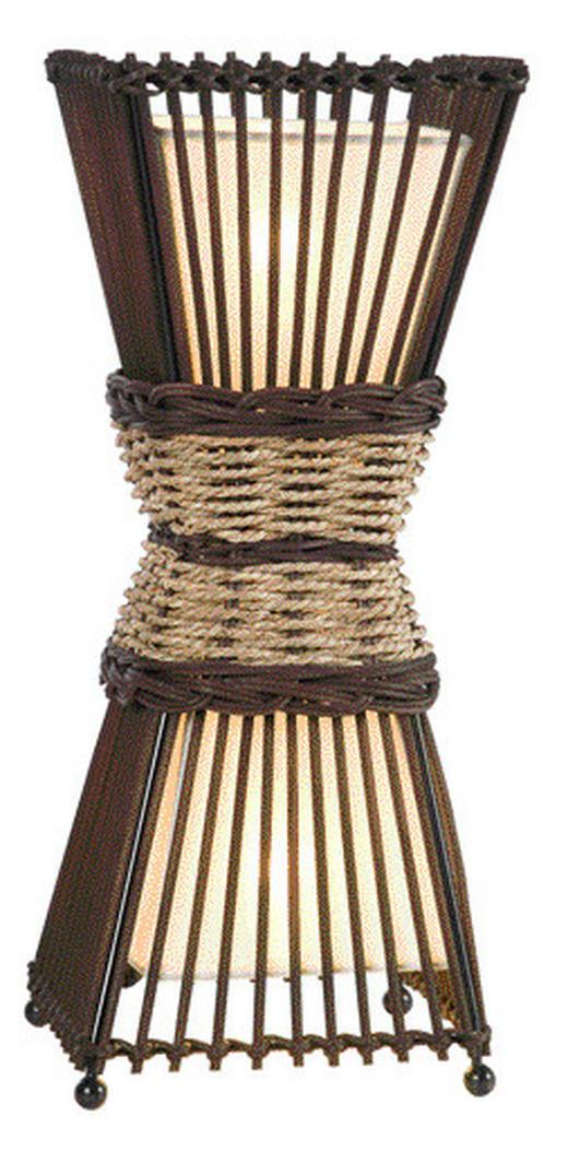 TISCHLEUCHTE - Dunkelbraun/Creme, KONVENTIONELL, Holz/Textil (35cm)