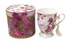 KAFFEEBECHER 320 ml - Pink/Weiß, Trend, Keramik/Papier (12,6/11,7cm) - Boxxx