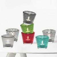 TEELICHTGLAS - Grau, Basics, Glas (9,30/8,00cm) - Leonardo