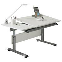 JUGENDSCHREIBTISCH Silberfarben, Weiß - Silberfarben/Weiß, Design, Metall (130/70cm) - Paidi