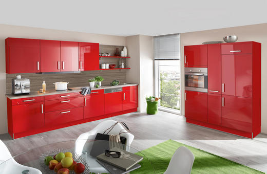EINBAUKÜCHE - Eichefarben/Rot, Design - Eschebach