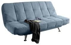 SCHLAFSOFA in Textil Blau  - Blau/Silberfarben, MODERN, Textil/Metall (208/102/98cm) - Carryhome