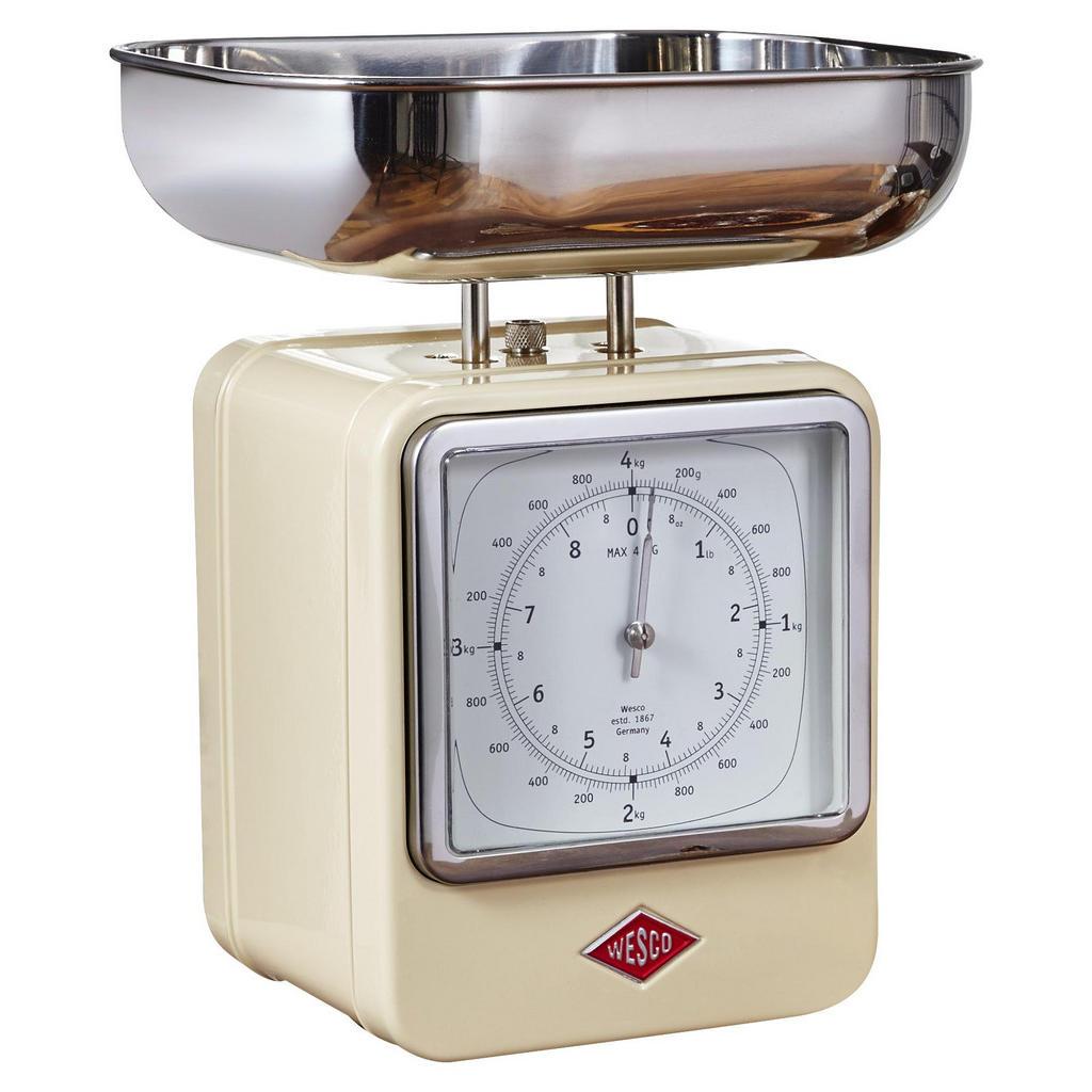 Wesco Retro Küchenwaage mit Uhr, Beige, Silber   Küche und Esszimmer > Küchengeräte > Küchenwaagen   Wesco