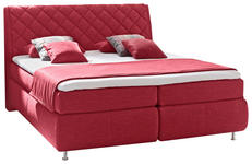 BOXSPRINGBETT 180/200 cm  in Rot  - Rot/Alufarben, KONVENTIONELL, Textil/Metall (180/200cm) - Dieter Knoll