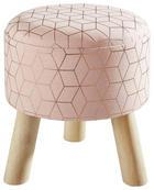 HOCKER Tanne Hellbraun, Rosa - Hellbraun/Pink, Holz/Textil (32/33cm)