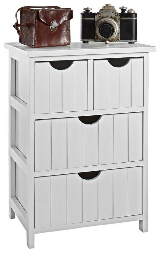 KOMMODE Paulownia mehrschichtige Massivholzplatte (Tischlerplatte), teilmassiv Weiß - Weiß, Design, Holz (40/57/29cm) - Carryhome