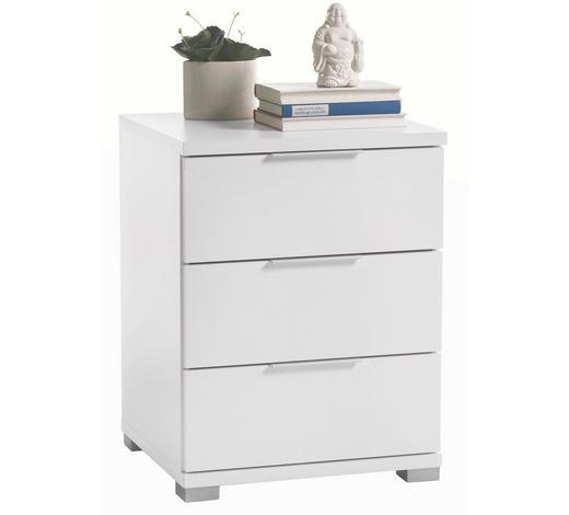 NOČNA OMARICA, bela  - bela/srebrna, Design, umetna masa/leseni material (46cm) - Boxxx