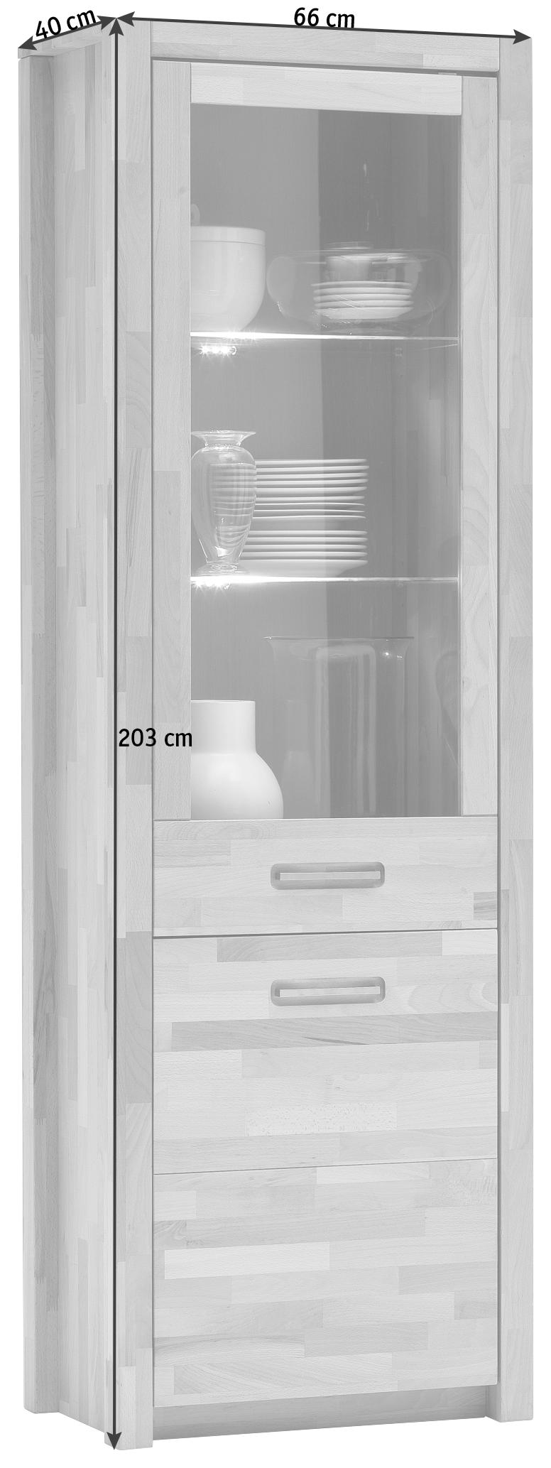VITRINE Wildeiche massiv Eichefarben - Eichefarben/Alufarben, Design, Glas/Holz (66/203/40cm) - LANDSCAPE