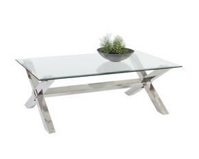 SOFFBORD - kromfärg/transparent, Design, metall/glas (132/45/76cm)