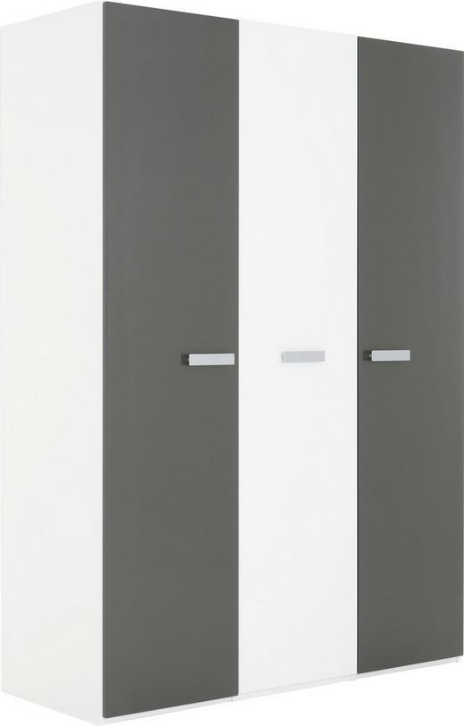 KLEIDERSCHRANK 3-türig Graphitfarben, Weiß - Graphitfarben/Alufarben, Design, Glas/Holzwerkstoff (151,3/213,6/59,7cm) - Xora