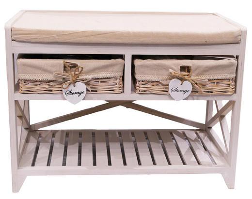 SITZBANK Beige, Weiß - Beige/Weiß, Basics, Holz (65/48/35cm)