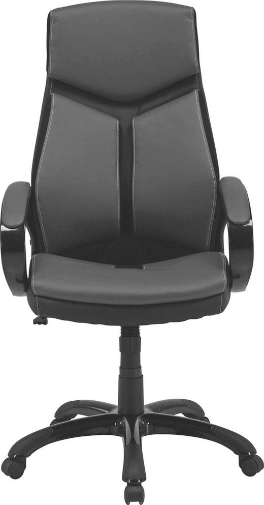 CHEFSESSEL Lederlook Grau, Schwarz - Schwarz/Weiß, Design, Kunststoff/Textil (64/115-125/74cm) - Carryhome