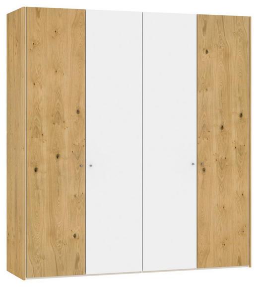 DREHTÜRENSCHRANK 4-türig Eiche furniert Eichefarben, Weiß - Eichefarben/Weinrot, Design, Glas/Holz (205,1/220/58,5cm) - Jutzler