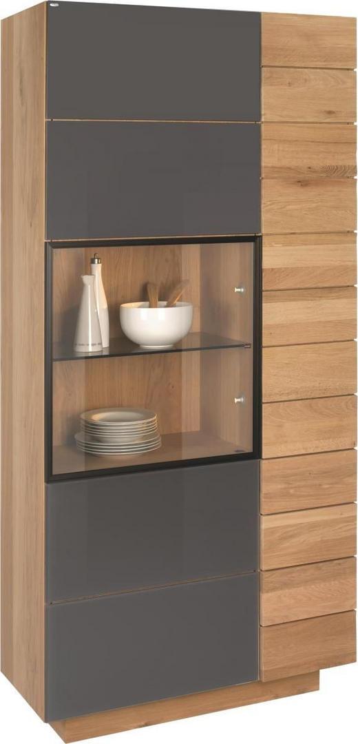 VITRINE Wildeiche Braun, Eichefarben - Eichefarben/Braun, Design, Glas/Holz (96/201,6/42,5cm) - VOGLAUER