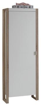 GARDEROBENSCHRANK melaminharzbeschichtet Eichefarben, Weiß - Eichefarben/Silberfarben, Design, Holzwerkstoff/Metall (65/186/34cm) - Carryhome