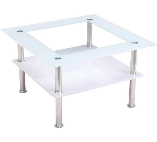 COUCHTISCH in Metall, Glas, Holzwerkstoff 70/70/42 cm - Edelstahlfarben/Eichefarben, Design, Glas/Holzwerkstoff (70/70/42cm) - Carryhome