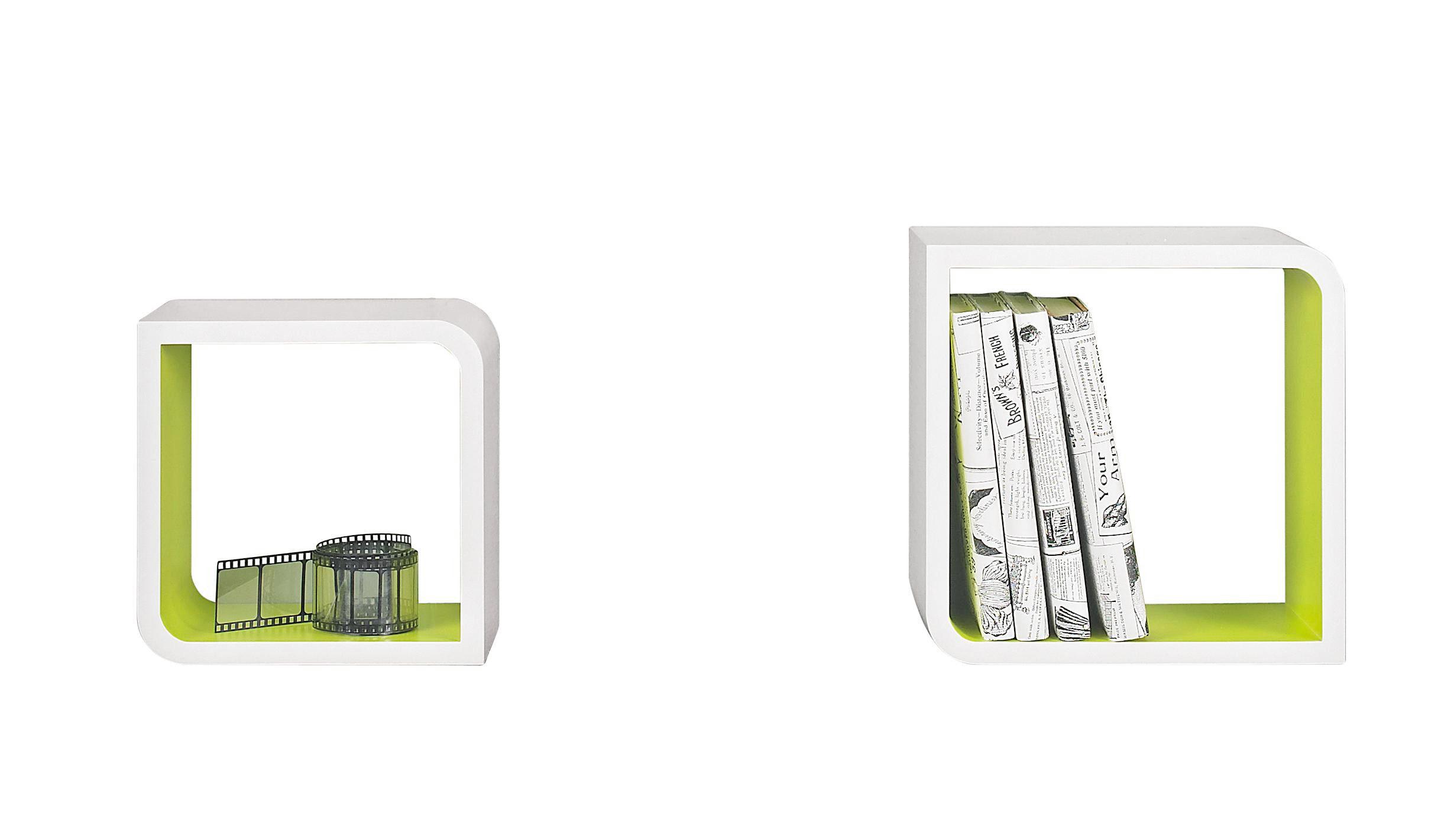 VÄGGHYLLA SET - vit/grön, Design, träbaserade material (28/28/15cm) - Boxxx