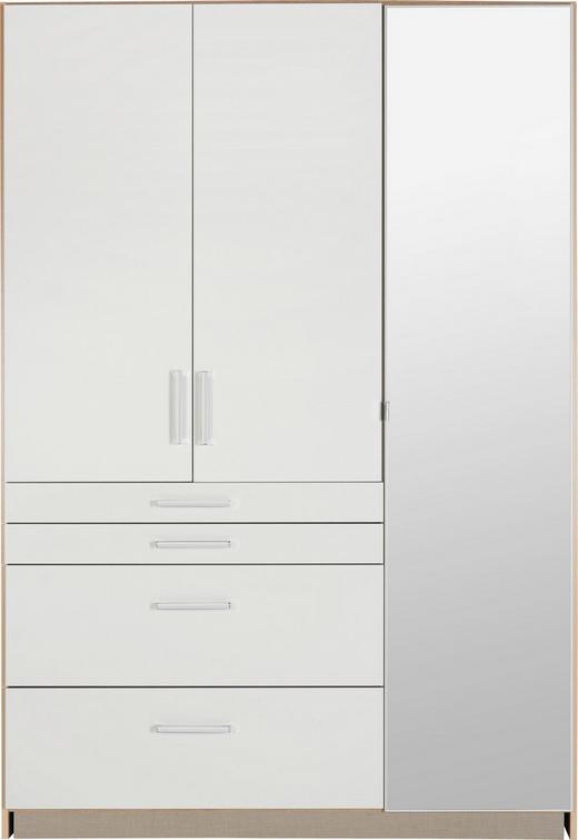 DREHTÜRENSCHRANK 3-türig Eichefarben, Weiß - Eichefarben/Alufarben, KONVENTIONELL, Glas/Holzwerkstoff (136/197/54cm) - Boxxx