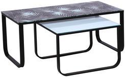 COUCHTISCHSET in Metall, Glas 105/55/42 cm   - Schwarz/Weiß, Design, Glas/Metall (105/55/42cm) - Carryhome