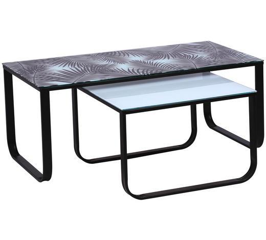 COUCHTISCHSET in Metall, Glas 105/60/55/60/42/38 cm - Schwarz/Weiß, Design, Glas/Metall (105/60/55/60/42/38cm) - Carryhome