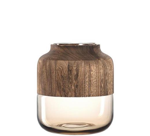 VASE 25 cm - Braun, KONVENTIONELL, Glas/Holz (25cm) - Leonardo