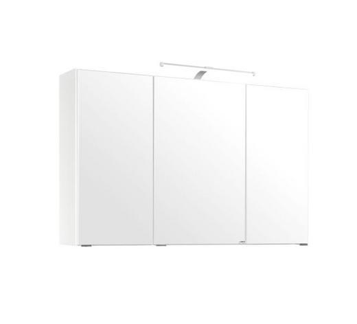 SPIEGELSCHRANK Weiß - Chromfarben/Weiß, KONVENTIONELL, Glas/Holzwerkstoff (100/64/20cm) - Xora
