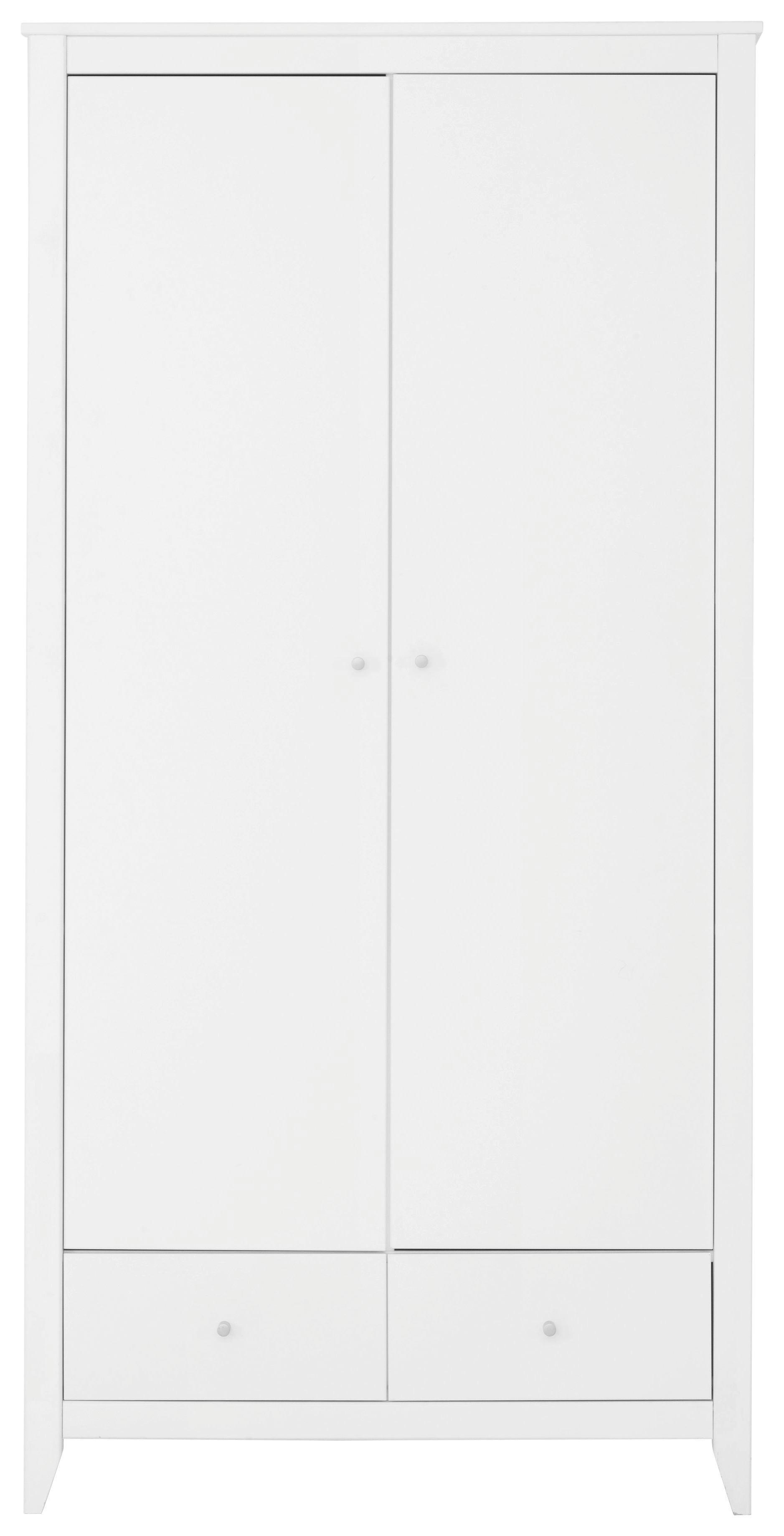 SCHRANK in teilmassiv Kiefer Weiß - Silberfarben/Weiß, MODERN, Holz/Holzwerkstoff (100/201/65cm)