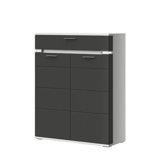 HIGHBOARD Melamin Graphitfarben, Weiß - Graphitfarben/Alufarben, Design, Metall (100,1/126,2/41cm) - Stylife