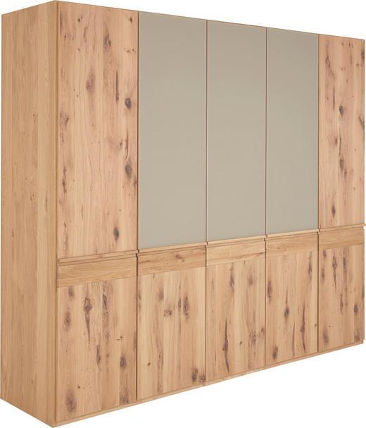 DREHTÜRENSCHRANK 5  -türig Eiche furniert, mehrschichtige Massivholzplatte (Tischlerplatte) Eichefarben, Grau - Eichefarben/Grau, Design, Glas/Holz (252/226/63cm) - VOGLAUER