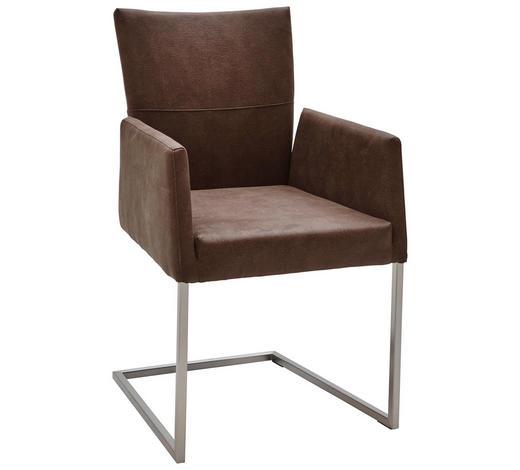 ARMLEHNSTUHL in Braun, Edelstahlfarben  - Edelstahlfarben/Braun, Design, Textil/Metall (55/91,5/65,5cm) - Dieter Knoll