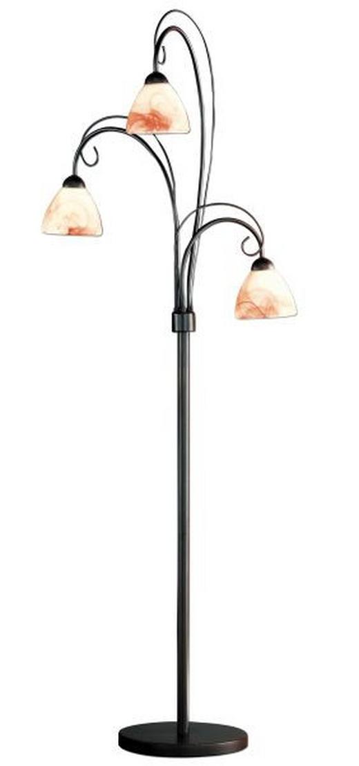 STEHLEUCHTE - Dunkelbraun/Braun, LIFESTYLE, Glas/Metall (155cm)