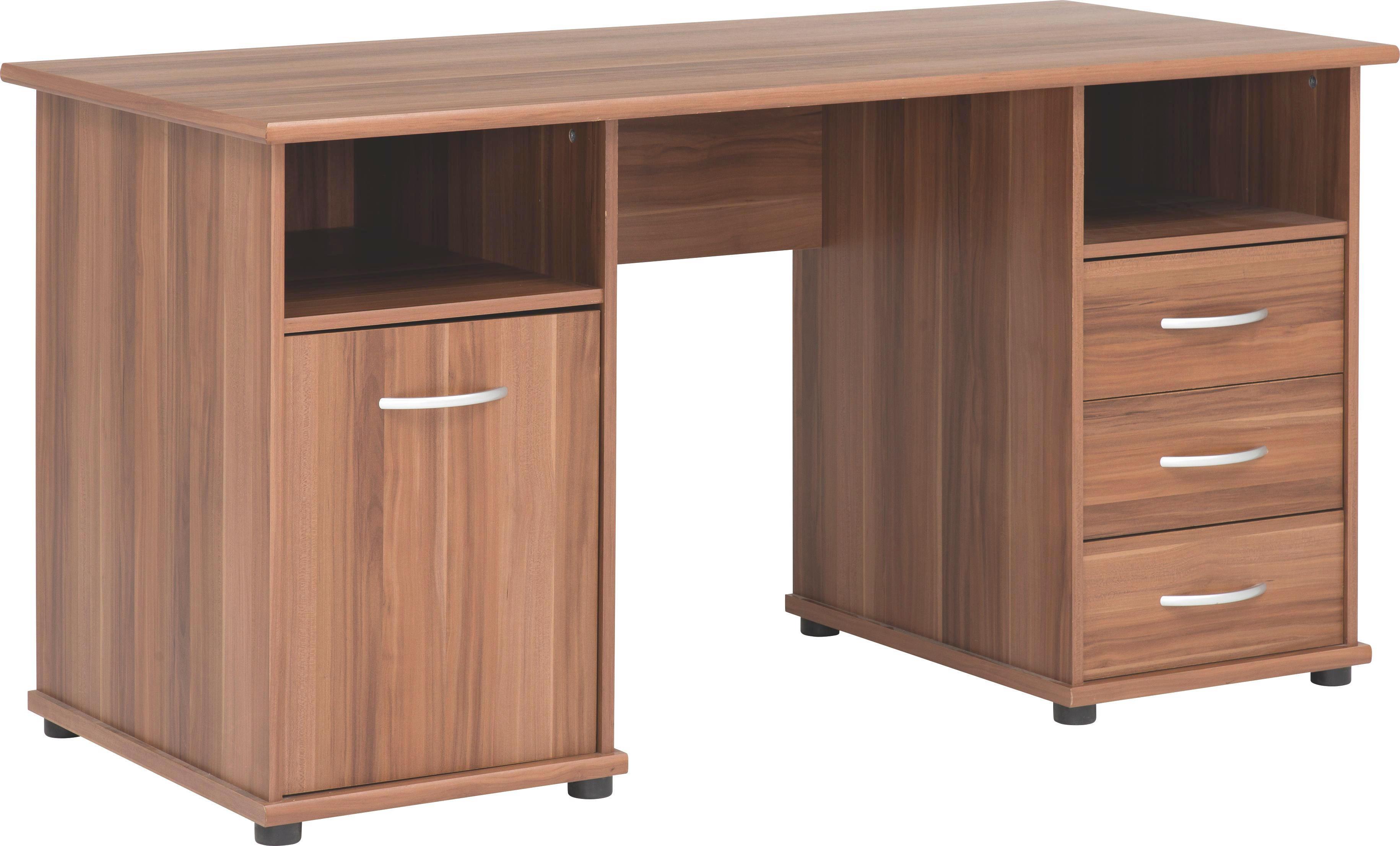 SCHREIBTISCH - Nussbaumfarben/Alufarben, Design, Holzwerkstoff/Kunststoff (148/75/67cm) - CANTUS