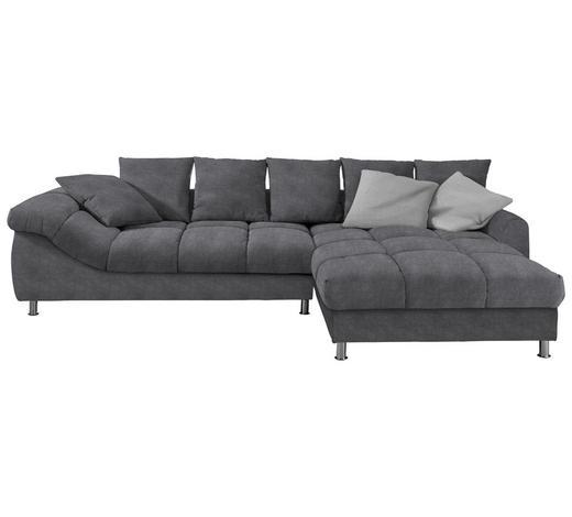 WOHNLANDSCHAFT Dunkelgrau Webstoff - Chromfarben/Dunkelgrau, Design, Textil/Metall (337/228cm) - Carryhome
