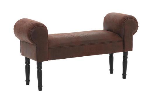 SITZBANK Lederlook Birke massiv Braun, Schwarz - Schwarz/Braun, Design, Holz/Textil (100/54/30cm) - Kare-Design