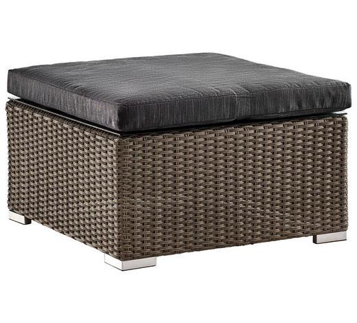 LOUNGEHOCKER Grau, Schwarz Kunststoffgeflecht Aluminium  - Schwarz/Grau, Design, Kunststoff/Textil (71/34/71cm) - Ambia Garden
