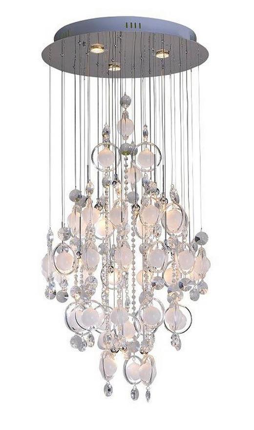LED-DECKENLEUCHTE - Silberfarben/Weiß, Design, Glas/Metall (60/140cm)