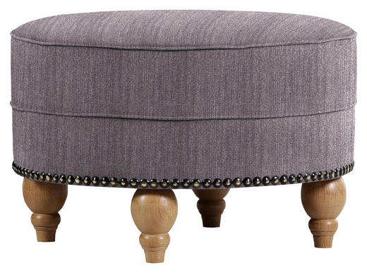 HOCKER in Textil Dunkelgrau - Eichefarben/Dunkelgrau, Design, Holz/Textil (77/43/cm) - Carryhome