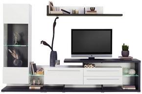HYLLKOMBINATION - vit/mörkgrå, Modern, glas/träbaserade material (264/169/42cm) - Carryhome