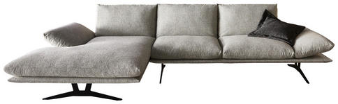 WOHNLANDSCHAFT Hellgrau Flachgewebe - Hellgrau/Schwarz, Design, Textil/Metall (155/314cm) - Dieter Knoll