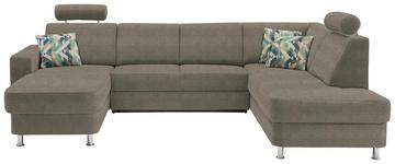 WOHNLANDSCHAFT in Textil Braun, Hellbraun - Chromfarben/Hellbraun, Design, Kunststoff/Textil (165/301/198cm) - Xora