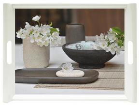 SERVERINGSBRICKA - beige/svart, Klassisk, plast (45,5/31cm) - Homeware