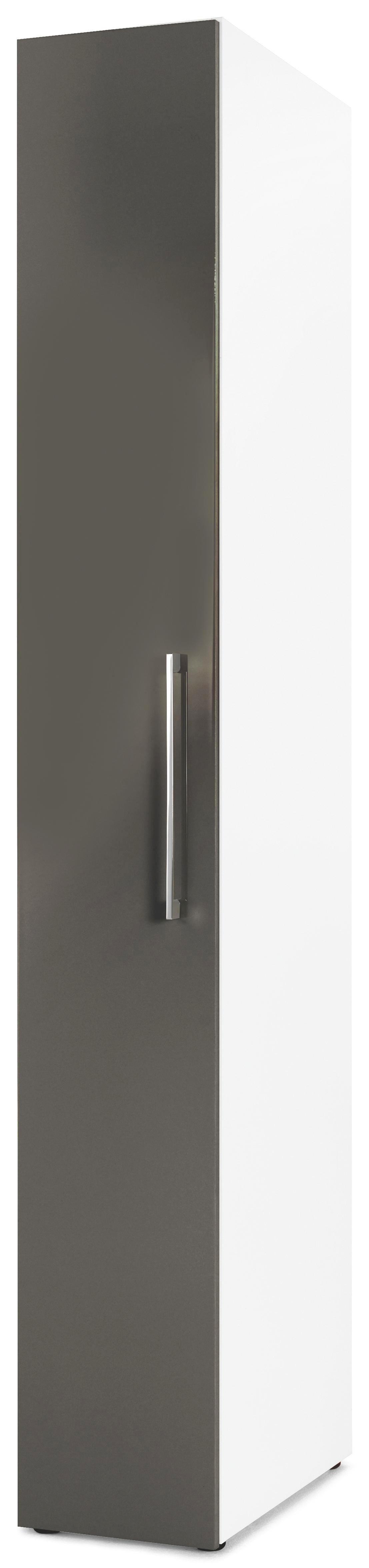 DREHTÜRENSCHRANK 1  -türig Grau, Weiß - Chromfarben/Weiß, Design, Holzwerkstoff/Metall (30/208/57cm) - CARRYHOME