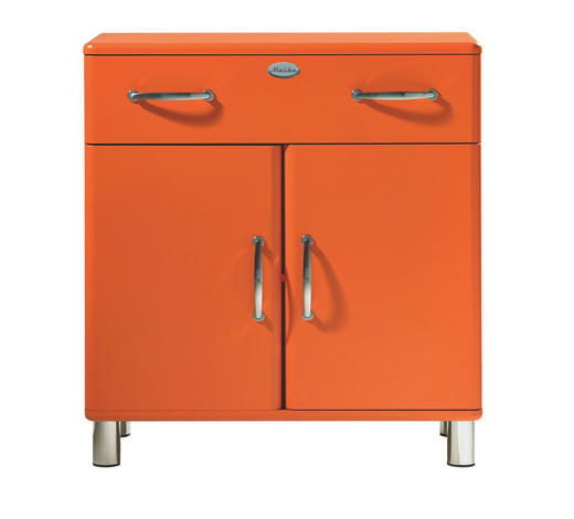 KOMMODE lackiert, Melamin Orange - Orange/Nickelfarben, Design, Holzwerkstoff/Metall (86/92/41cm) - Carryhome