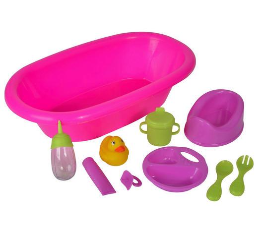 PUPPENBADEWANNE - Pink/Transparent, Basics, Papier/Kunststoff (73.5/22/30.5cm) - Simba