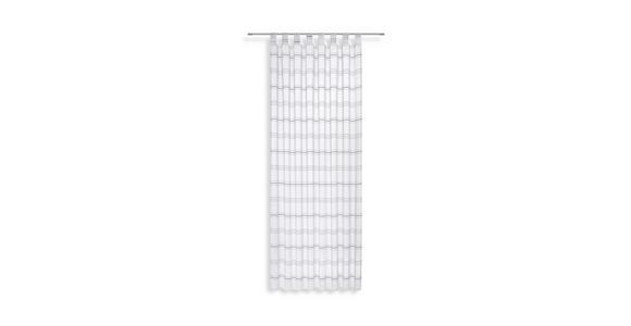 Vorhang mit Schlaufen und Band Halina B: 145cm, Weiß/Silber - Silberfarben/Weiß, KONVENTIONELL, Textil (145/245cm) - Luca Bessoni