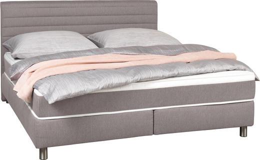 BOXSPRINGBETT Webstoff 160/200 cm  INKL. Matratze, Topper - Grau, Design, Textil/Metall (160/200cm) - Carryhome