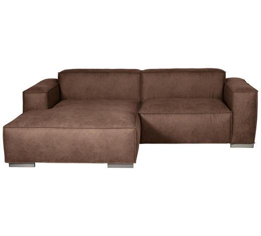 WOHNLANDSCHAFT in Textil Braun - Silberfarben/Braun, KONVENTIONELL, Kunststoff/Textil (168/260cm) - Carryhome